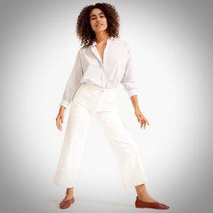 Everlane White Wide Leg Crop Pants 6 Cotton Zipper